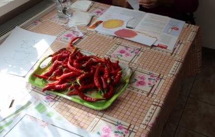 Navliekanie papriky na sušenie a príprava na ďalšie aktivity